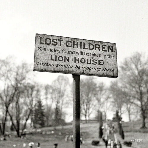 May 1943. Washington, D.C. A sign at the National Zoological Park
