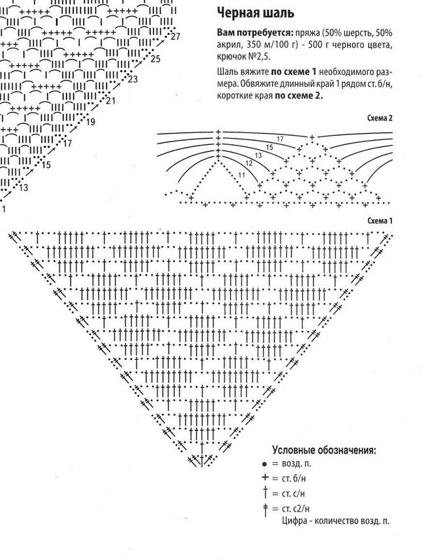 Платок крючком схемы и описание