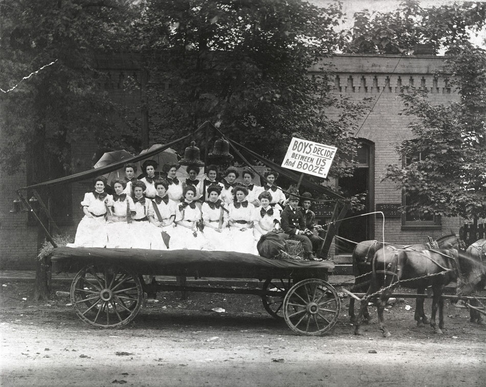Protesters' sign Boys Decide Between Us and Booze.Ca. 1910
