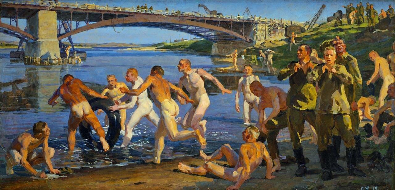 Строители моста (эскиз) 1959, Жилинский Дмитрий Дмитриевич (1927-).
