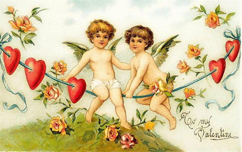 Старые открытки с днем валентина