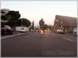 Бесстрашный скейтбордист на скорости 110 км/ч