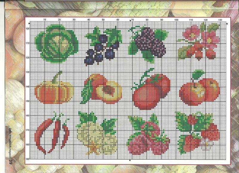 Схема вышивки крестом фрукты или овощи 927