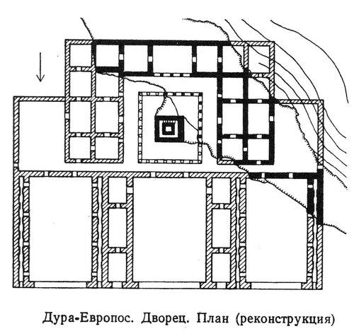 Дворец цитадель Дура-Европоса, план, реконструкция