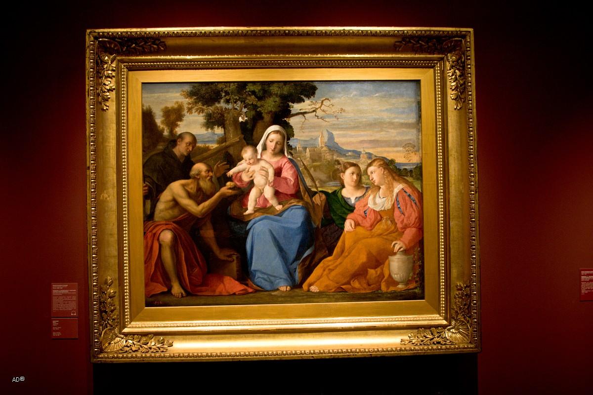 Пальма старший (Якопо Д'Антонио Негретти), Мадонна с младенцем и святыми (святое собеседование), холст, масло, 121х156 см, 1520 г.