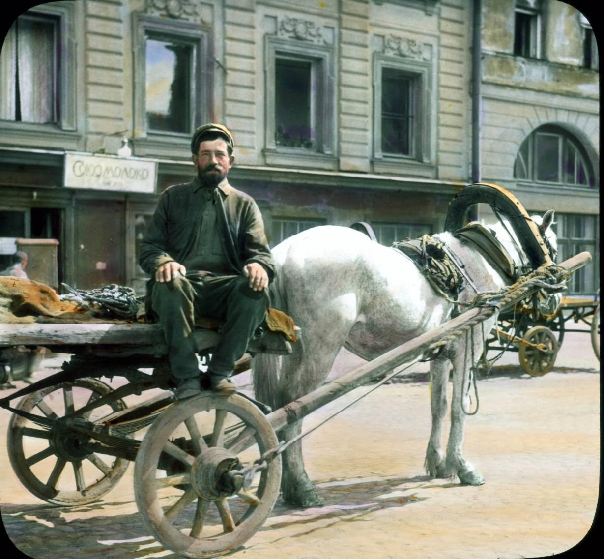 Санкт-Петербург, крестьянин с повозкой в городе