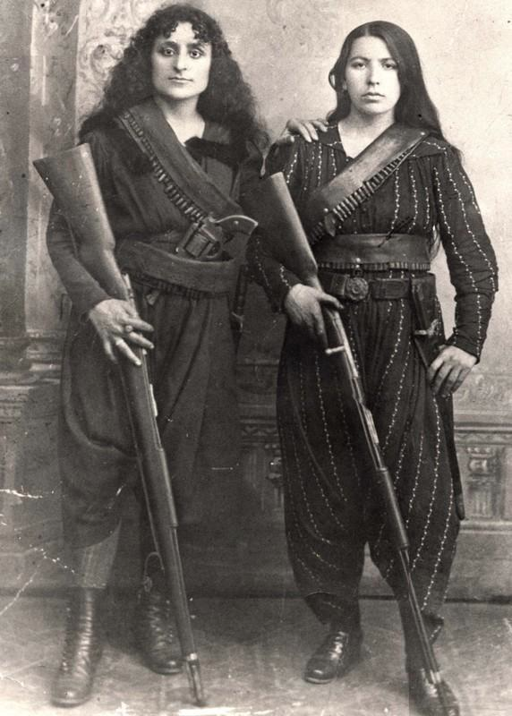 Portrait of two Armenian fighters during the Hamidian Massacres, 1895.