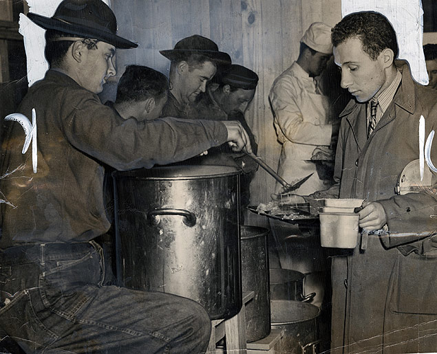 New York City draftees get their first taste of U.S. Army chow upon their arrival at Fort Dix, New Jersey