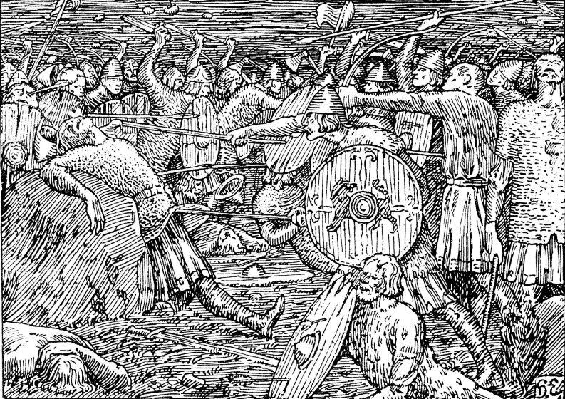 Сага об короле Олафе Святом. Смерть Олафа,1898, __Эгедиус, Хальфдан__ Halfdan Egedius (Norway 1877-1899)