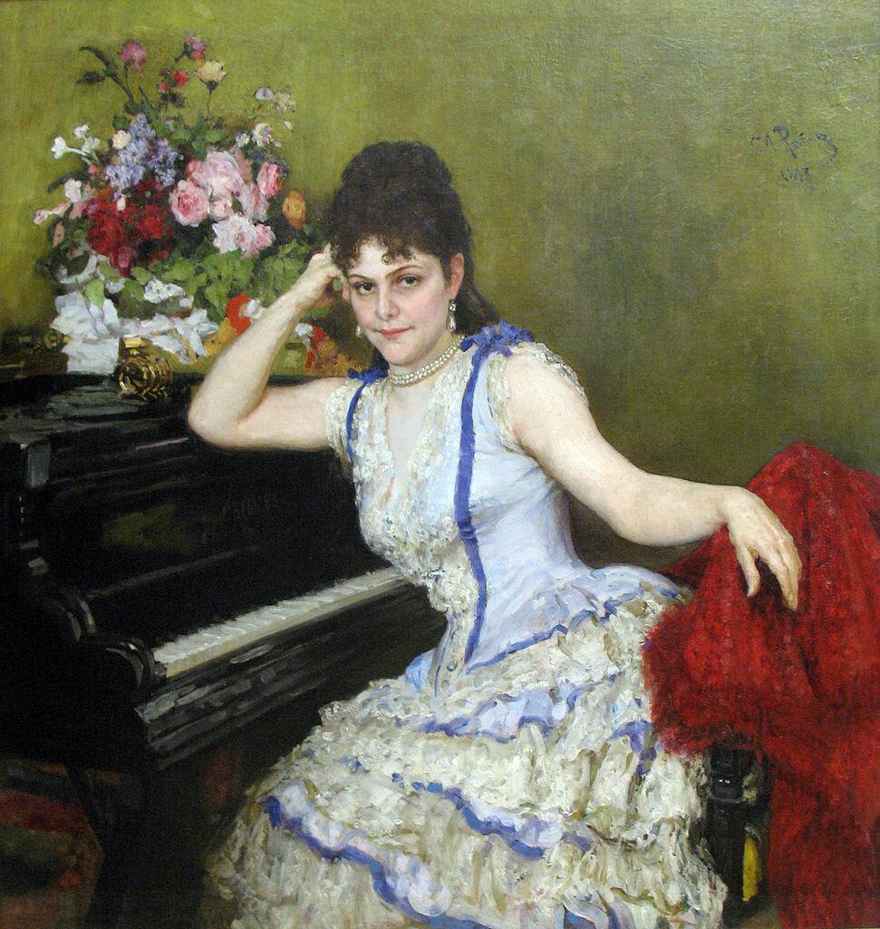 Портрет Софьи Ментер, 1887, лучшая и любимейшая ученица Листа, знаменитая пианистка и композитор. И. Е. Репин (1844-1930)