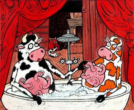 Сексуальные коровы трогают вымя