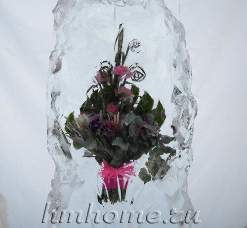 Живые цветы во льду