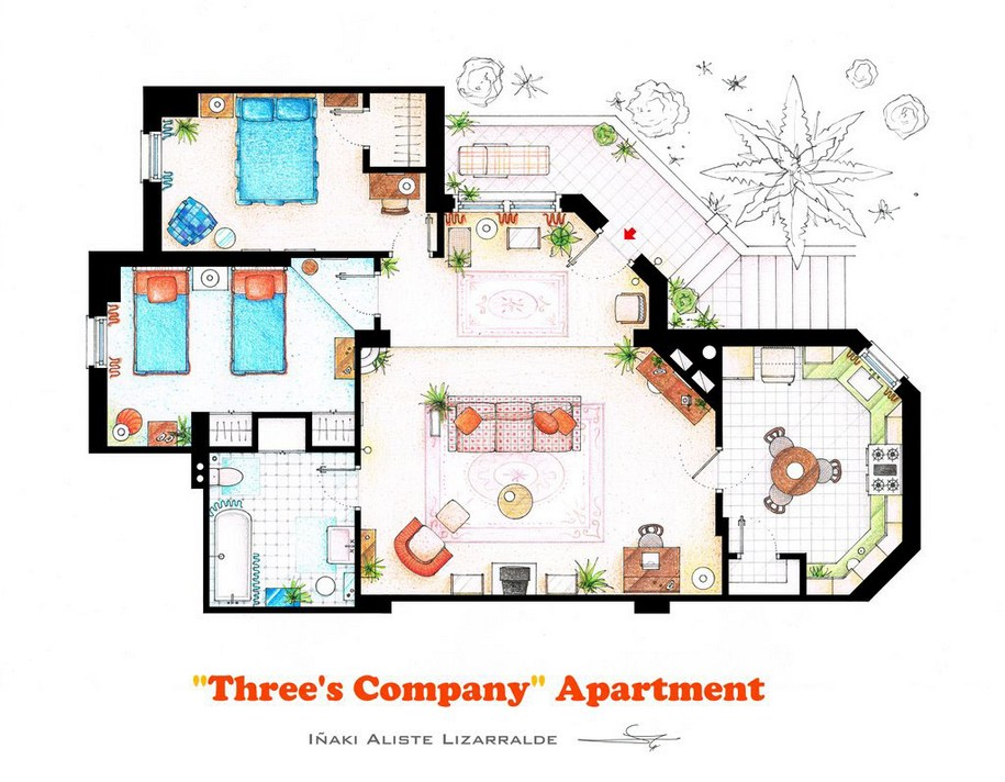 Квартира Джека Триппера, Джанет Вуд и Криси Сноу из сериала «Трое - это компания»