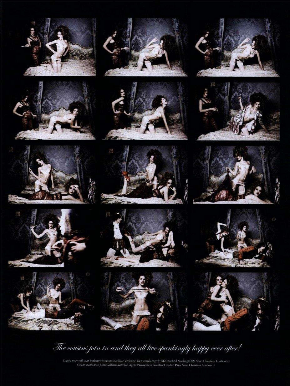 Dioni Tabbers, Julia Oleynik, Alice Aufrey / Диони Табберс, Юлия Олейник и Элис Офри в Неприличной сказке фотографа Ellen Von Unwerth в журнале Vs. Magazine, весна-лето 2010