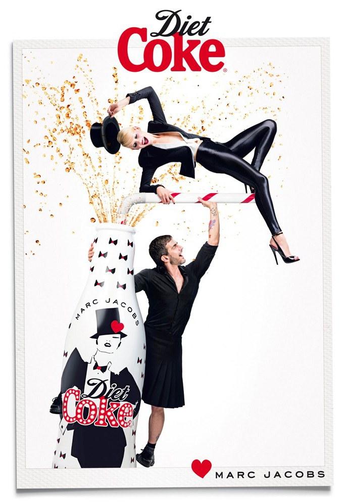 Marc Jacobs and Ginta Lapina / Марк Джейкобс и Гинта Лапина в рекламе юбилейной коллекции Diet Coke, весна 2013