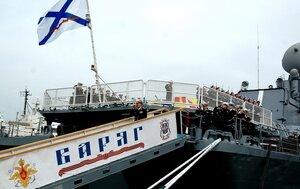 """В Приморье крейсер """"Варяг"""" провёл артиллерийские стрельбы в заливе Петра Великого"""