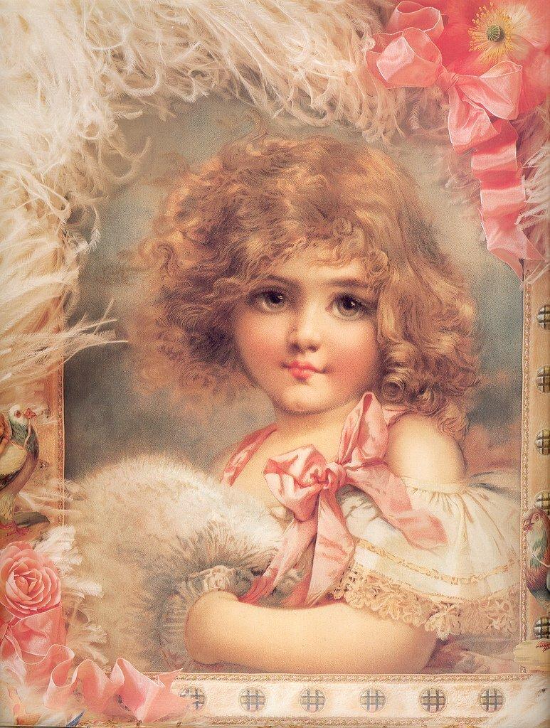 Девочка на старинных открытках 729
