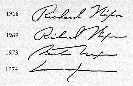 Подпись Ричарда Никсона в разное время...