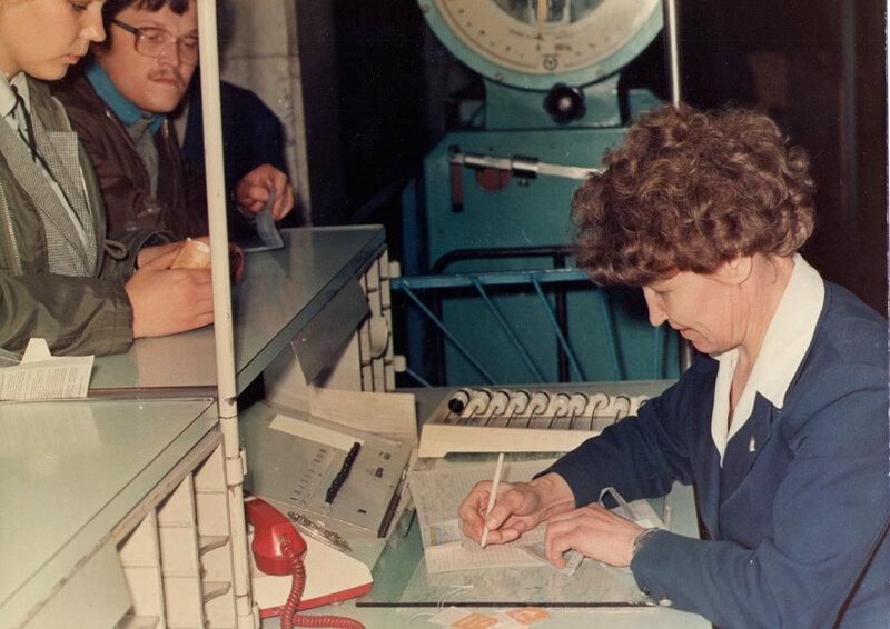 Регистрация пассажиров в иркутском аэропорту. 1967 год