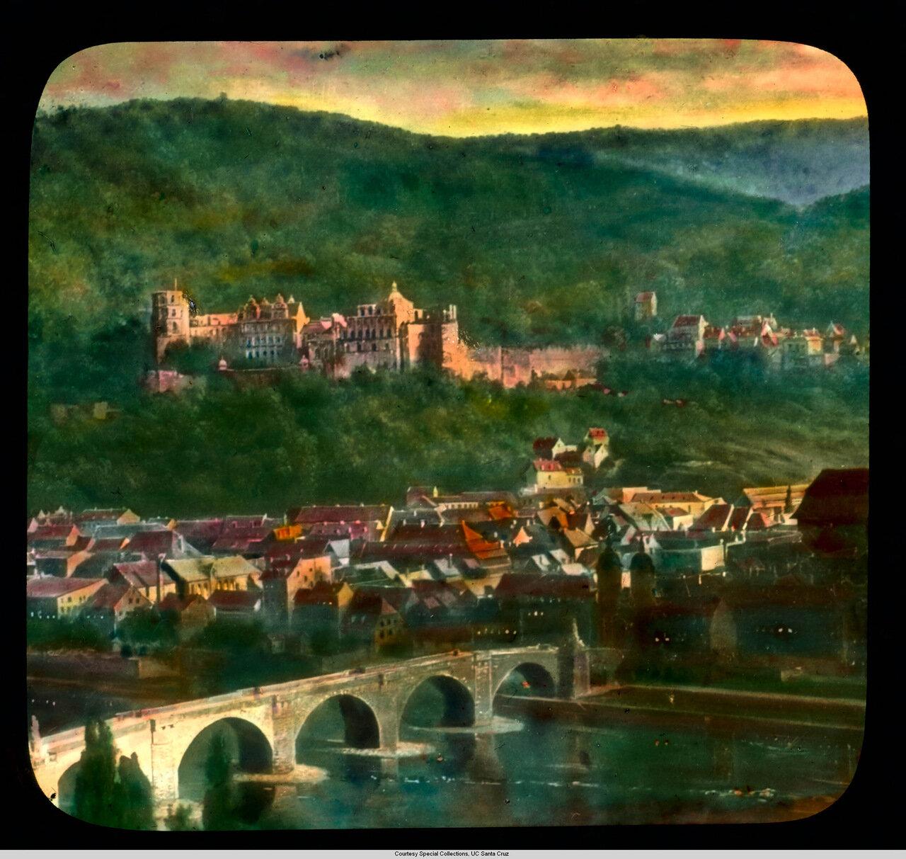 Гейдельберг.  Замок, Старый город и Неккар на закате