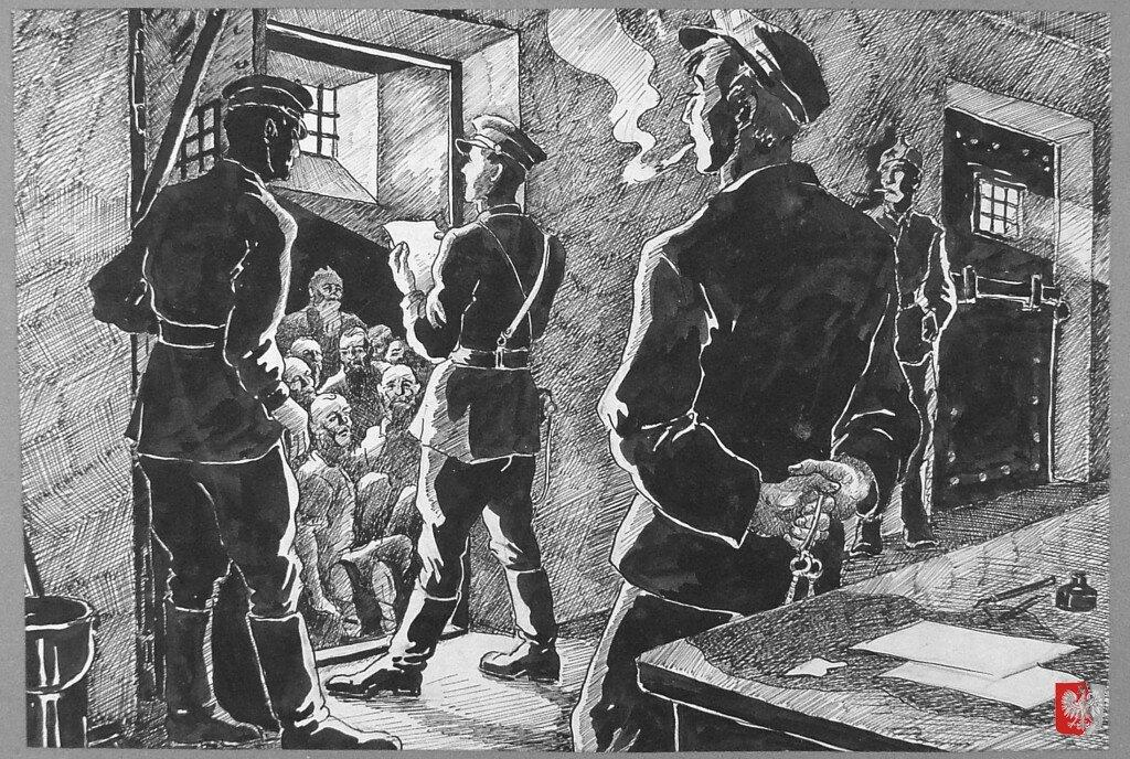 Советские офицеры проводят перекличку заключенных в большевистской тюрьме на севере России