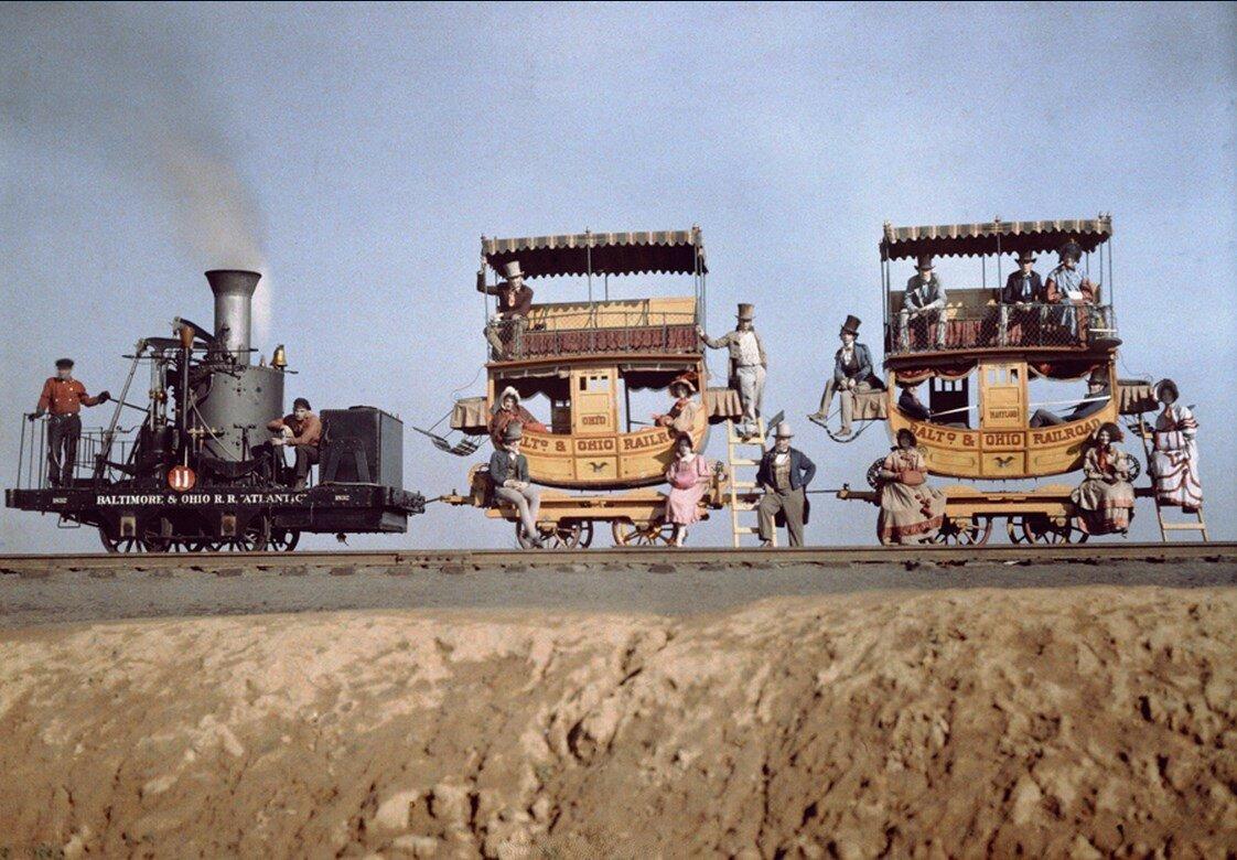 1927. Локомотив и два вагона «Атлантик» на железнодорожной выставке возле Балтимора, Мэриленд