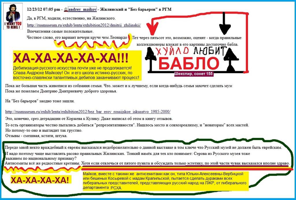 Майков, Пост, Жилинский, Русский музей, Дебилизация