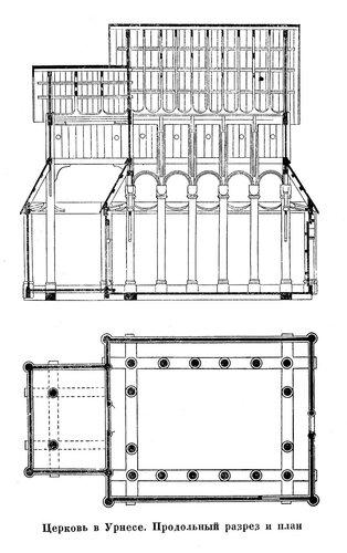 Церковь в Уриесе, план и разрез