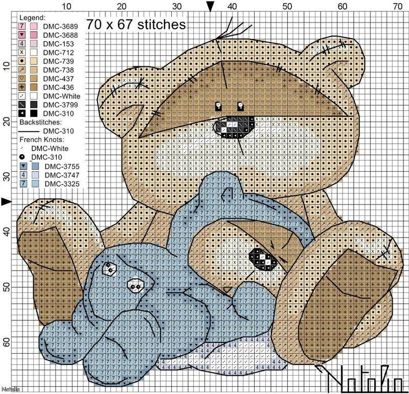 Схема вышивка метрики медвежонок