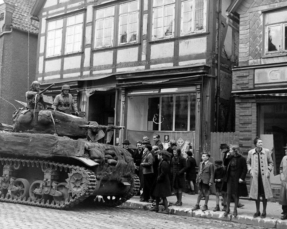 2nd Armored Division. An M5A1 light tank in an unknown German town