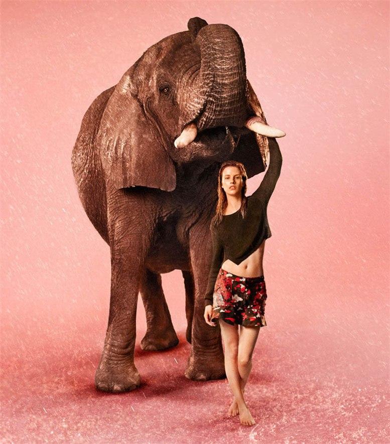 African Shower - Jeneil Williams, Julia Frauche, Ashleigh Good by Ryan McGinley for EDUN spring/summer 2013 campaign