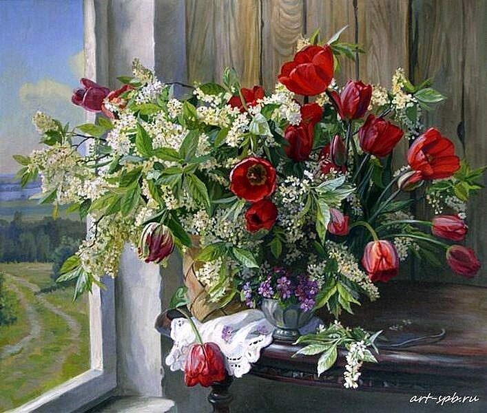 Панов Эдуард Черемуха и тюльпаны.
