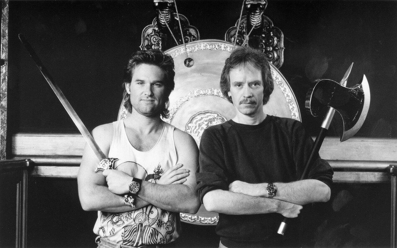 1986. Курт Рассел и Джон Карпентер на съемках фильма «Большой переполох в маленьком Китае»