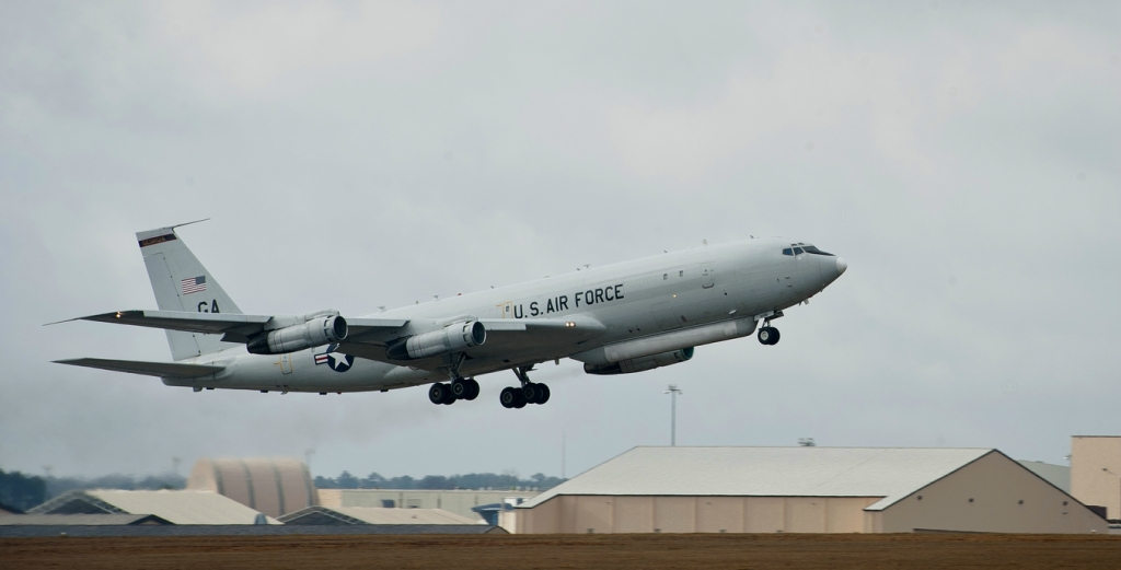 An E8-C Joint Surveillance and Target Attack Radar System aircraft takes off at Robins Air Force Base, Ga., Feb. 13, 2013. JSTARS provides an airborne, stand-off range, surveillance and target acquisition radar and command and control center. (U.S. Air Fo