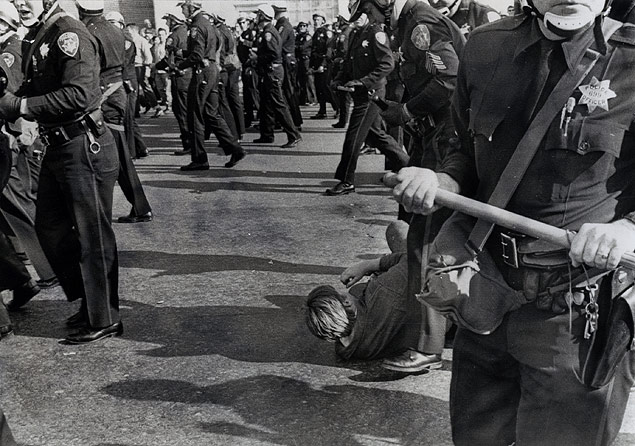 Police move in to protect anti-Viet Nam demonstrators injured after being attacked by Hells Angels in a Peace March in Berkeley, California