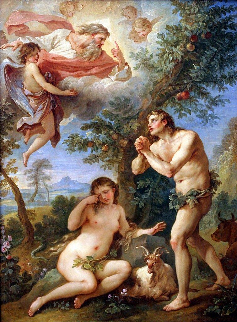 Изгнание из Рая, 1740, масло по меди_ Натуар, Шарль-Жозеф (1700-1777), рококо, Франция, Метрополитен-музей, Нью-Йорк