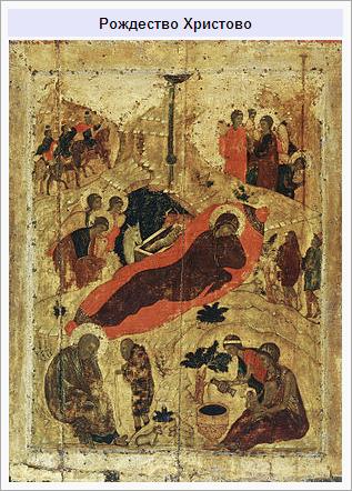 «Рождество Христово», икона Андрея Рублёва