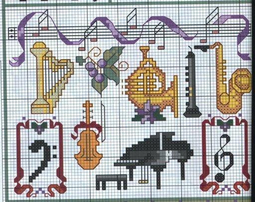 Музыкальная в вышивке схемы 157