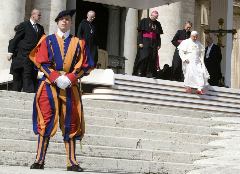 Pope Benedict XVI leaves at the end of his general audience in Saint Peter's square at the Vatican