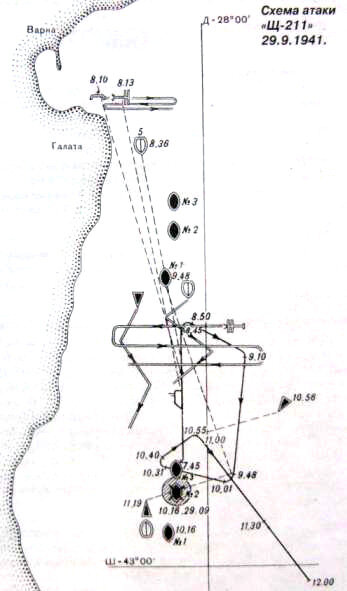 Схема атаки Щ-211 итальянского танкера 'Суперга' 29.09.1941