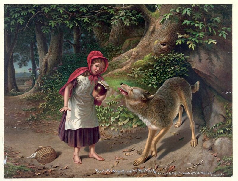 Red-Ridinghood and the wolf.