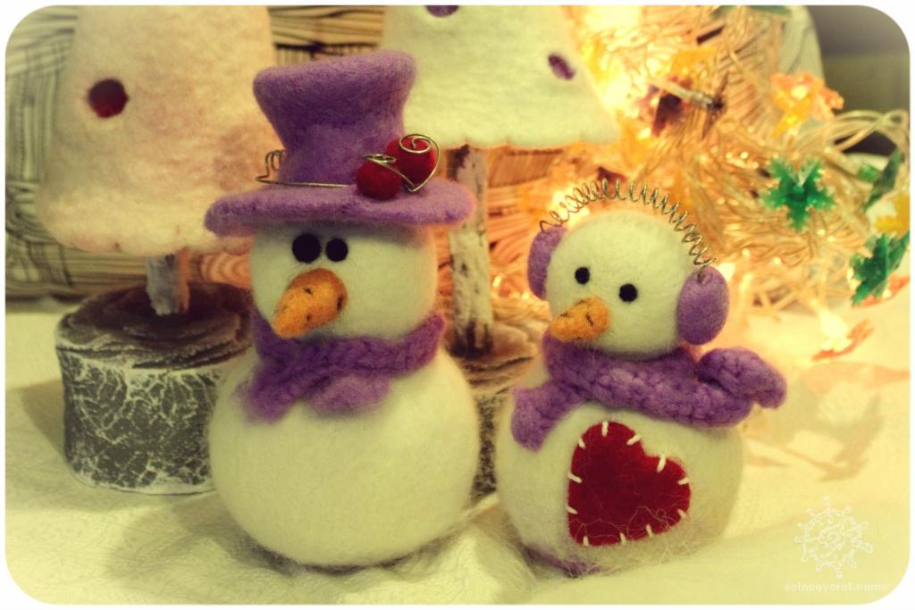 Снеговик из шерсти для валяния