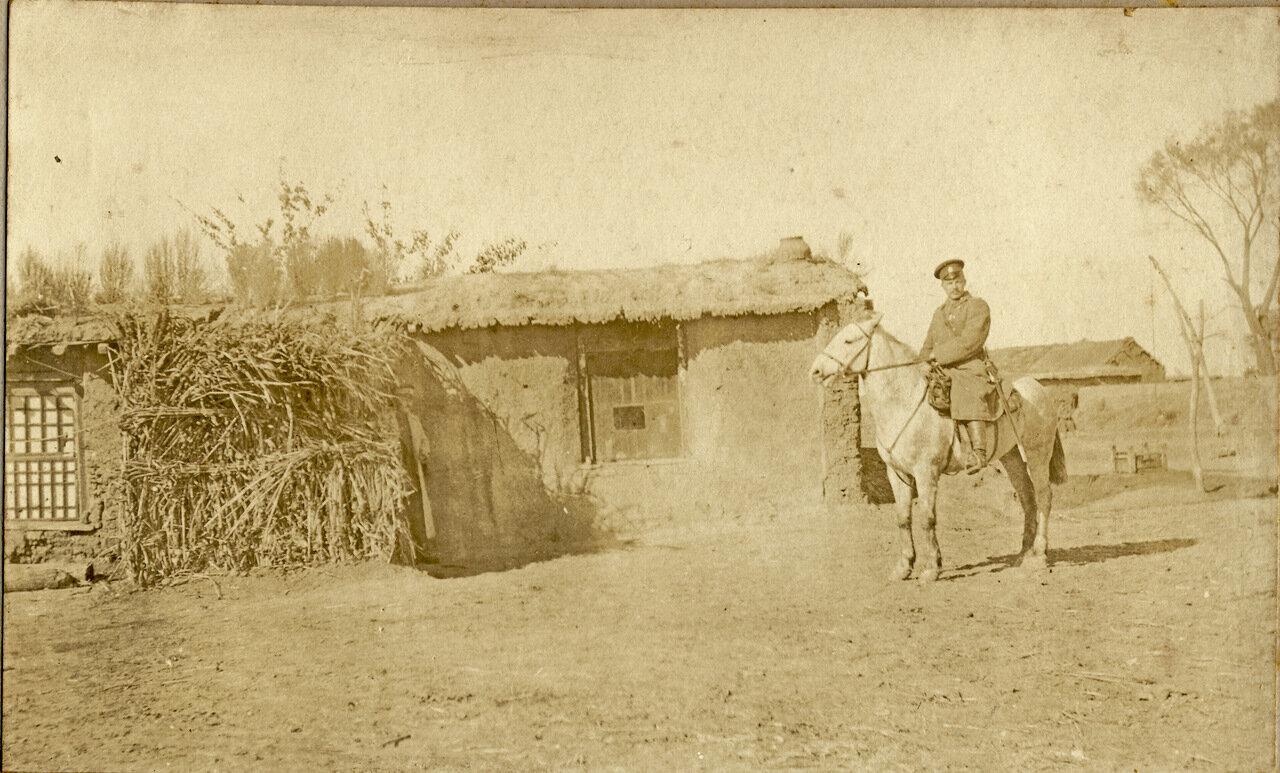 Офицер 220-го Епифанского полка Сидоров К.Р. на своем любимом коне «Мальчишке». Маньчжурия. 1905 год