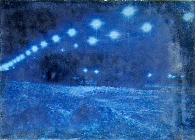 Вид на речную часть моста в ночное время. Январь 1937 г.