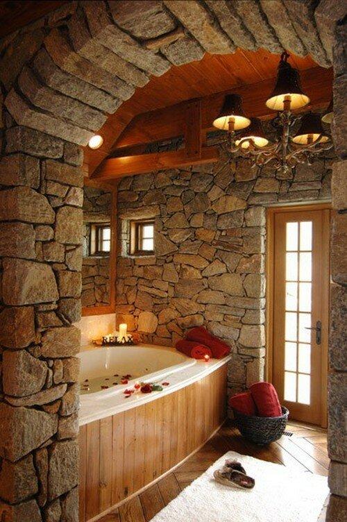 Ванная комната из камня фото