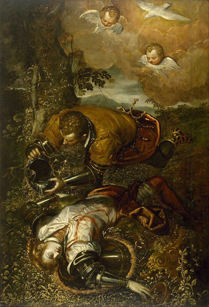 800px-Domenico_Tintoretto_-_Tancred_Baptizing_Clorinda_-_Google_Art_Project 1586-1590.jpg