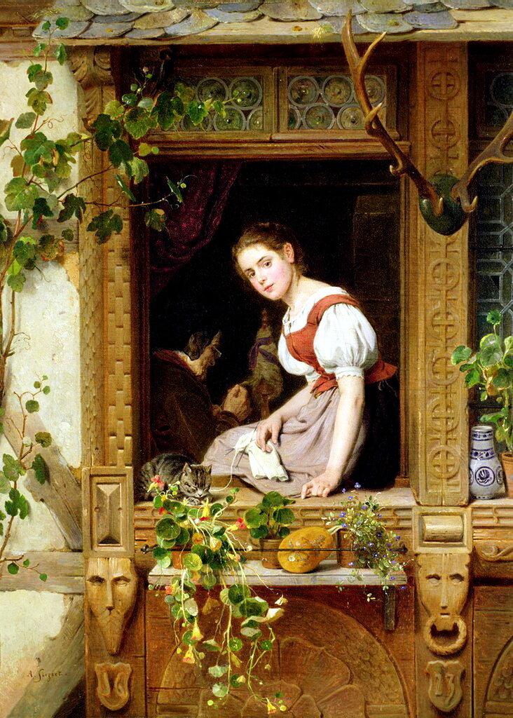 August Friedrich Siegert - Dreaming on the windows