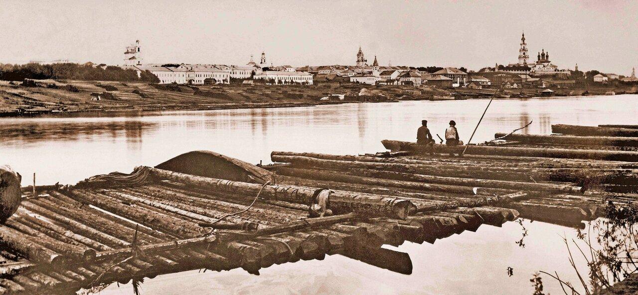 Сплав леса по Волге.