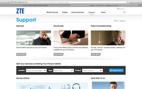 Страница технической поддержки продукции ZTE на сайте www.ztedevices.com