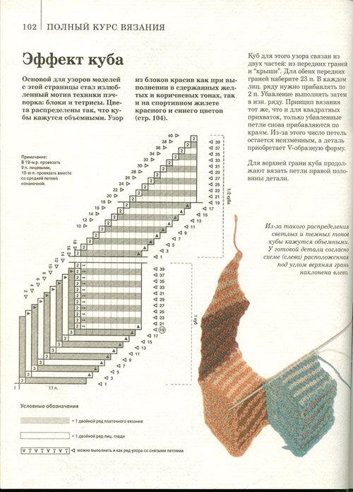 Вязание треугольника спицами пэчворк 29